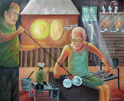 Venice Painting - Murano Glass Blowers - Italy by Ronald Haber
