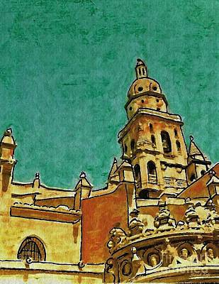 Medieval Mixed Media - Murcia Cathedral by Sarah Loft