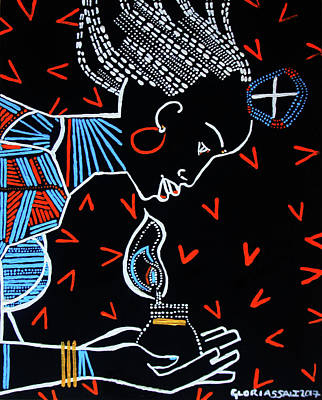 Painting - Murle Wise Virgin South Sudan by Gloria Ssali