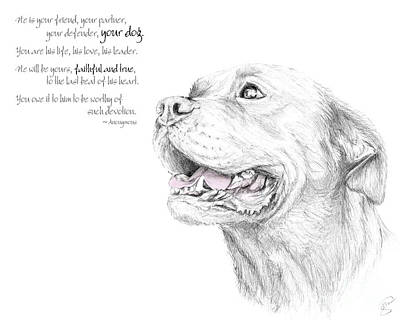 Rottweiler Puppy Drawing - Murphy, Loyalty Quote by Stacey May