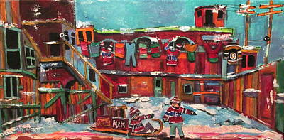 Quebec Dow Beer Painting - Murray Street Griffintown Memories by Michael Litvack