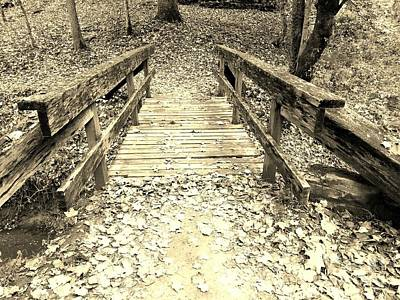 Indiana Rivers Digital Art - Muscatatuck Virginia Mill Pathway Bridge - Sepia by Scott D Van Osdol