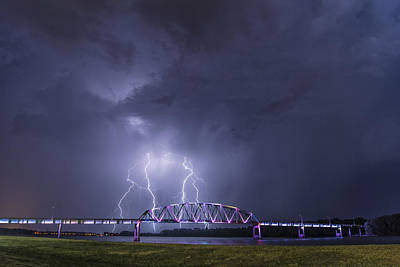 Muscatine Bridge Lightning Print by Paul Brooks