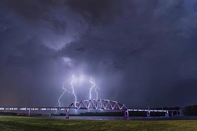 Muscatine Bridge Lightning Art Print by Paul Brooks