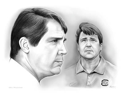 Football Drawing - Muschamp Gamecocks by Greg Joens