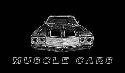 Spare Tire Digital Art - Muscle Cars by PixBreak Art