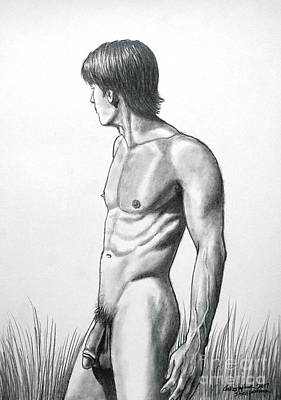 Drawing - Muscular Nude Male Bather Walking Across The Field by Christopher Shellhammer