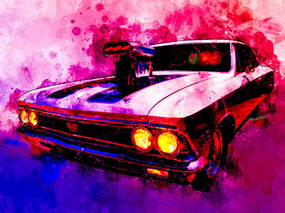 Digital Art - Muscular Ss 396 Chevelle Watercolour by Chas Sinklier