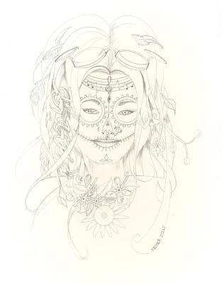 Steampunk Drawings - Muse De Los Muertos by David Seter
