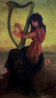 20th Century Painting - Muse Playing The Harp by Antoine Auguste Ernest Hebert