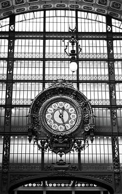 Photograph - Musee D'orsay Giant Ornate Interior Gold Clock Masterpiece Paris France Black And White by Shawn O'Brien