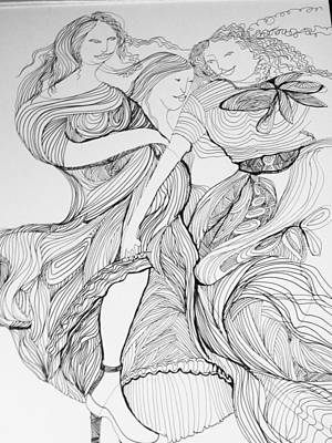 Wall Art - Drawing - Muses At Play by Rosalinde Reece