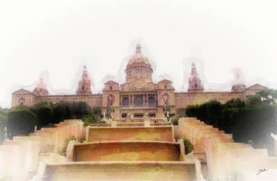 Barcelona Drawing - Museu Nacional D'art De Catalunya by Joaquin Abella