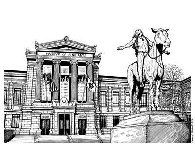 American City Scene Drawing - Museum Of Fine Arts Boston by Conor Plunkett