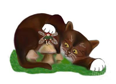 Digital Art - Mushroom Fairy And Kitty by Ellen Miffitt