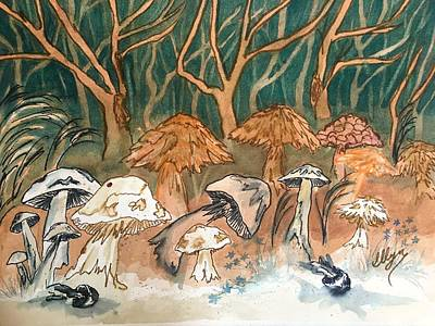 Painting - Mushroom Forest  by Ellen Levinson