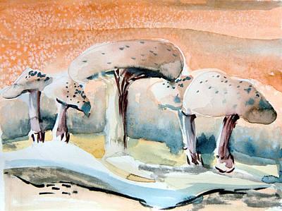 Abstract Digital Drawing - Mushroom Heaven by Mindy Newman