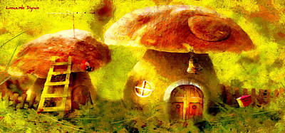 Feed Painting - Mushroom House - Pa by Leonardo Digenio