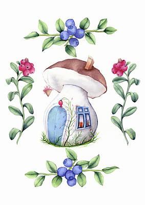 Alice In Wonderland Painting - Mushroom House by Taylan Apukovska