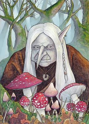 Painting - Mushroom Hunting Troll by Bard Algol
