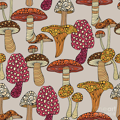 Mushrooms Wall Art - Digital Art - Mushroom Pattern by Valentina