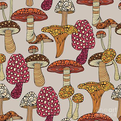 Garden Digital Art - Mushroom Pattern by Valentina