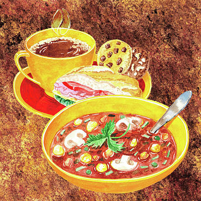 Painting - Mushroom Soup Sandwich And Coffee by Irina Sztukowski