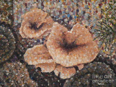 Woodpile Painting - Mushrooms / Squirrel by Jim Rehlin