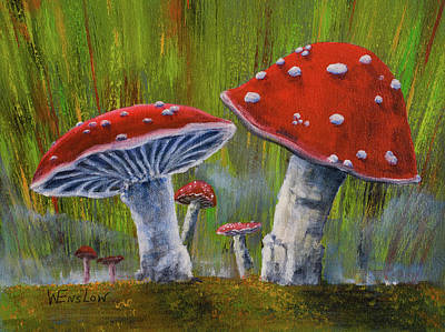 Watercolor Dragonflies - Mushrooms by Wayne Enslow