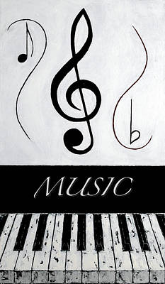 Music 1 - Black Notes Art Print by Wayne Cantrell