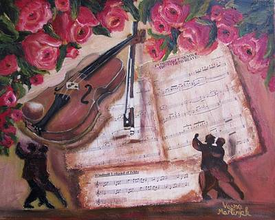 Mixed Media -  Music And Roses by Vesna Martinjak