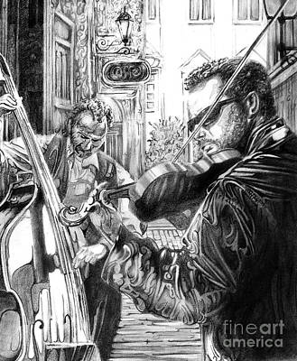 Drawing - Music Caffe In The Street by Mike Massengale