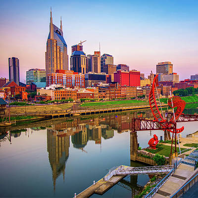 Photograph - Music City Along The River - Nashville Skyline Square Art by Gregory Ballos