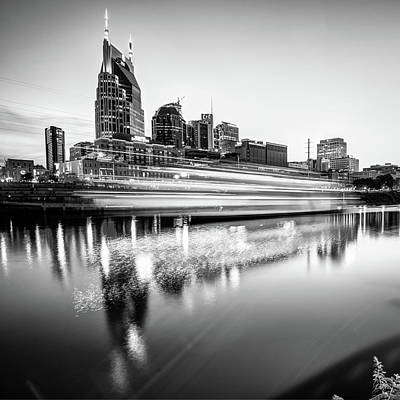 Nashville Skyline Photograph - Music City Motion - Nashville Skyline Square Format Black And White by Gregory Ballos