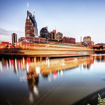 Photograph - Music City Motion - Nashville Skyline Square Format by Gregory Ballos