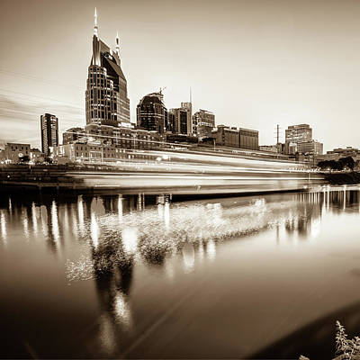 Photograph - Music City Motion - Nashville Skyline Square Format Sepia by Gregory Ballos