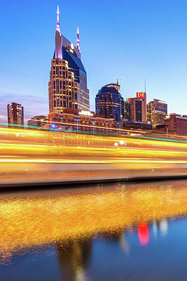 Photograph - Music City Motion - Nashville Tennesee Skyline by Gregory Ballos
