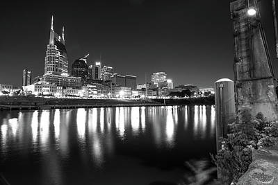 Photograph - Music City Skyline In Black And White - Nashville Tennessee by Gregory Ballos