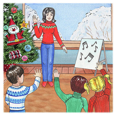 Painting - Music Class Christmas by Irina Sztukowski