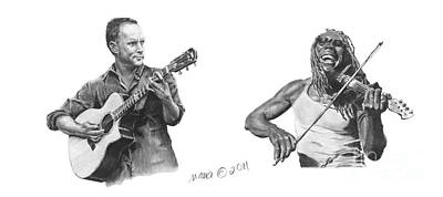 Boyd Tinsley Drawing - Music Dave Matthews Band by Marianne NANA Betts
