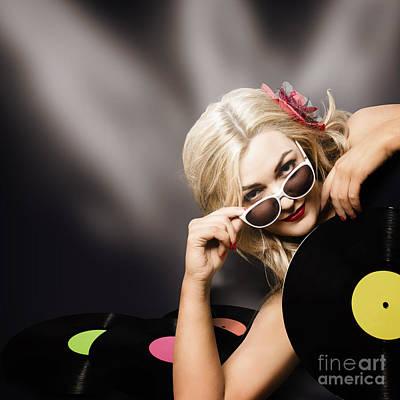 Music Dj Girl Holding Audio Vinyl Record Art Print