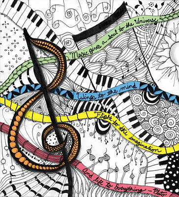 Plato Digital Art - Music Gives Life by Emily Smith