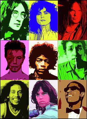 John Marley Digital Art - Music Icons #2 Male by Cathy Cain