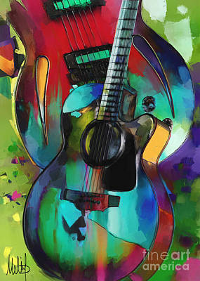 Acoustic Guitar Painting - Music In Colour by Melanie D