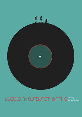 Listening Digital Art - Music Is An Outburst Of The Soul Poster by Naxart Studio