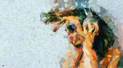 People Painting - Music Is Her Life Two - Thick Paint by Sir Josef - Social Critic - ART