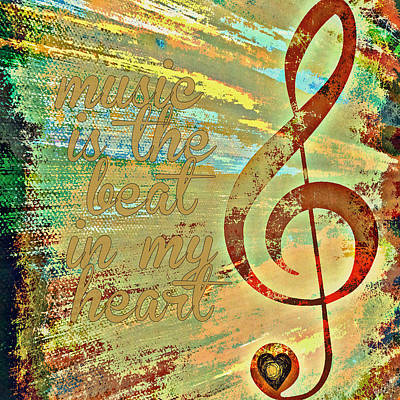 Music Is The Beat In My Heart V1 Art Print by Brandi Fitzgerald