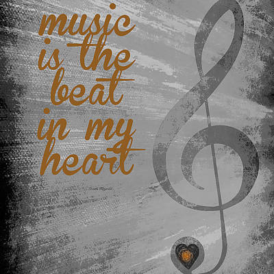 Music Is The Beat In My Heart V2 Art Print by Brandi Fitzgerald
