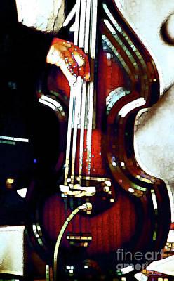 Music Man Bass Violin Print by Linda  Parker