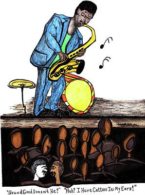 Mixed Media - Music Man Cartoon by Michelle Gilmore